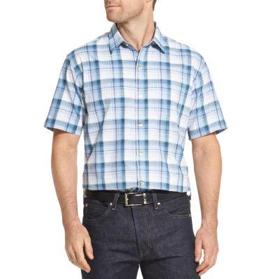 Van Heusen Mens Short Sleeve Moisture Wicking Plaid Button-Front Shirt Big and Tall