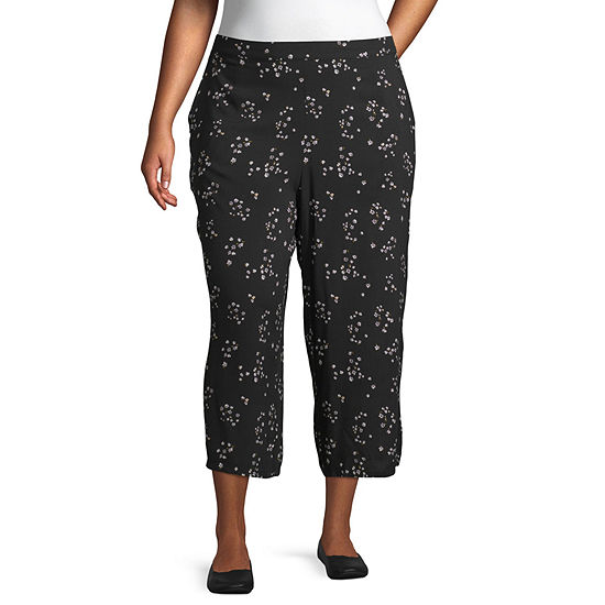 Arizona Womens Low Rise Wide Leg Pull-On Pants-Juniors Plus