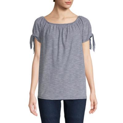 St. John's Bay-Womens Boat Neck Short Sleeve T-Shirt