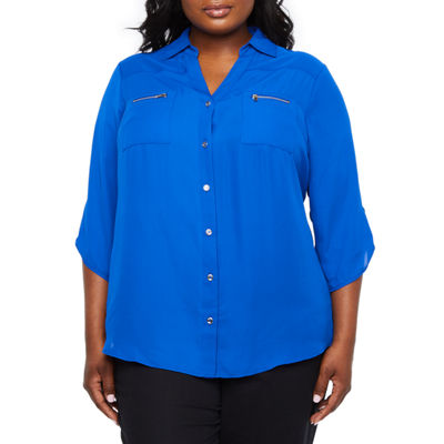 Alyx Womens V Neck 3/4 Sleeve Blouse-Plus