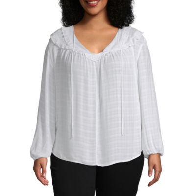 a.n.a Womens Scoop Neck Long Sleeve Blouse-Plus
