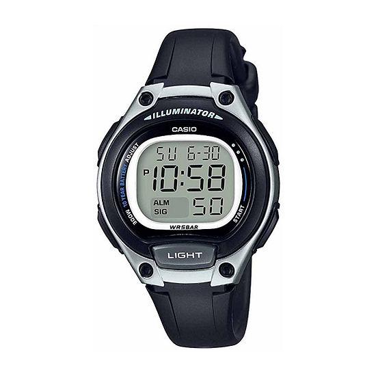 Casio Illuminator Womens Digital Black Strap Watch-Lw203-1avpb
