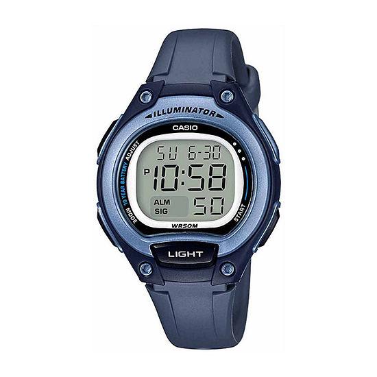 Casio Illuminator Womens Digital Blue Strap Watch-Lw203-2avpb
