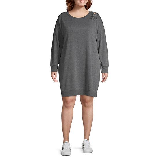Xersion Lace Up Sweatshirt Dress-Plus