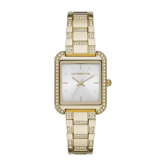 Liz Claiborne Womens Crystal Accent Gold Tone Bracelet Watch-Lc1383t