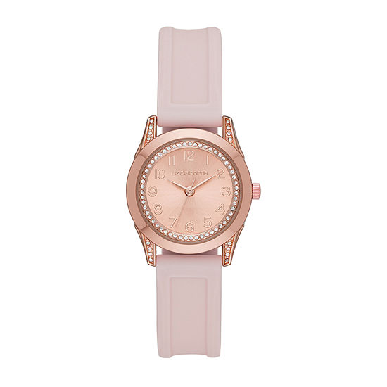 Liz Claiborne Womens Crystal Accent Pink Strap Watch-Lc1387t