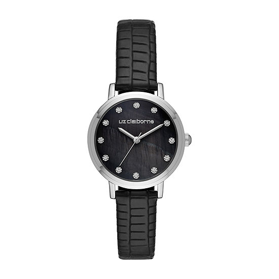Liz Claiborne Womens Crystal Accent Black Strap Watch-Lc1390t