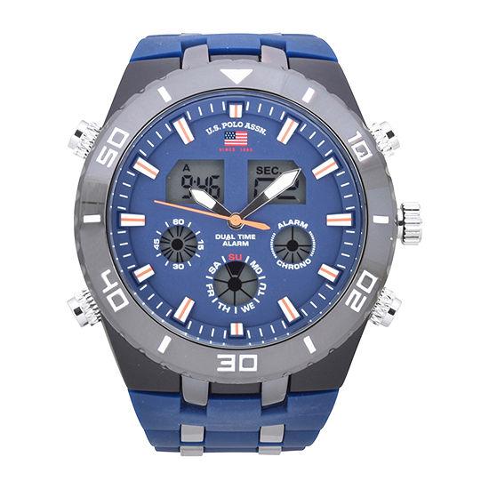 Us Polo Assn. Mens Blue Strap Watch-Us9728jc