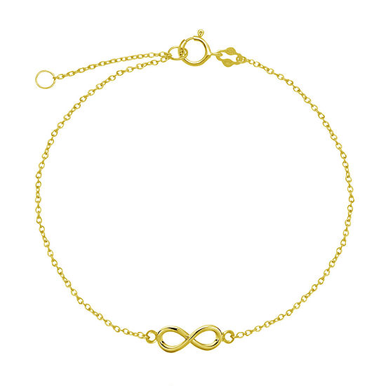 Itsy Bitsy 14K Gold Over Silver Sterling Silver 9 Inch Cable Ankle Bracelet
