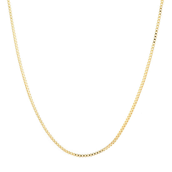 """Silver Reflections 24K Gold Over Brass 18-24"""" Box Chain Necklace"""
