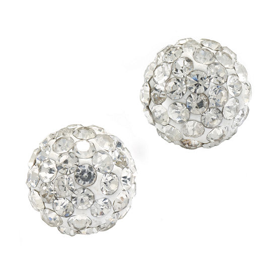 Silver Treasures Crystal Sterling Silver 7.7mm Round Stud Earrings