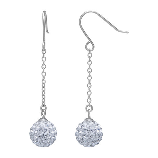 Silver Treasures Crystal Sterling Silver Round Drop Earrings