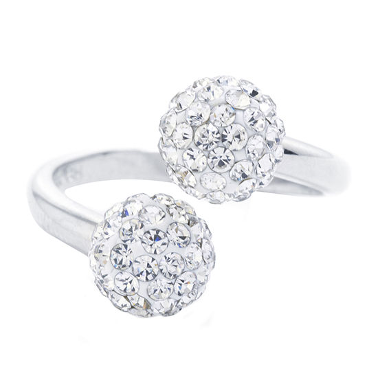 Sparkle Allure Crystal Pure Silver Over Brass Round