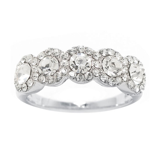 Sparkle Allure Crystal Pure Silver Over Brass Cocktail Ring