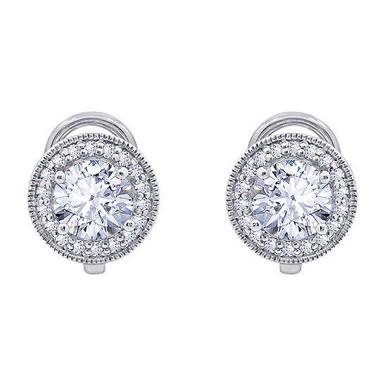 Diamonart 2 1/3 CT. T.W. White Cubic Zirconia Sterling Silver Stud Earrings