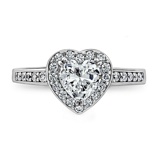 Womens 1 7/8 CT. T.W. Cubic Zirconia Sterling Silver Heart Engagement Ring