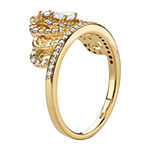 Diamonart Womens 5/8 CT. T.W. White Cubic Zirconia 14K Gold Over Silver Pear Cocktail Ring