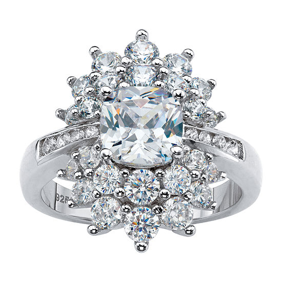 DiamonArt® Womens 3 1/4 CT. T.W. White Cubic Zirconia Sterling Silver Square Cocktail Ring