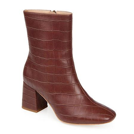 70s Shoes, Platforms, Boots, Heels | 1970s Shoes Journee Collection Womens Trevi Booties Block Heel 11 Medium Brown $71.99 AT vintagedancer.com