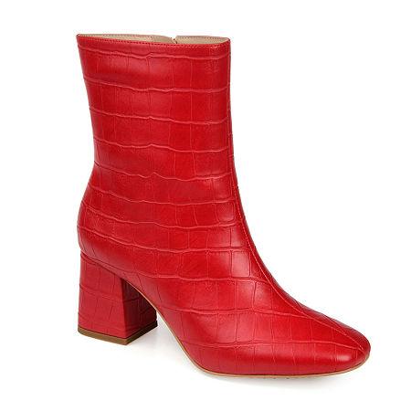 Vintage Shoes, Vintage Style Shoes Journee Collection Womens Trevi Booties Block Heel 6 12 Medium Red $79.99 AT vintagedancer.com