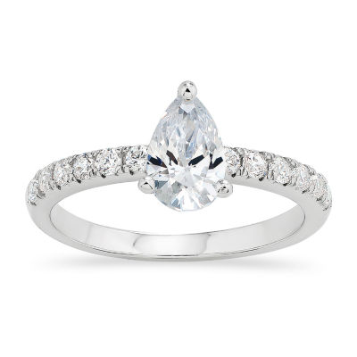 DiamonArt® Womens White Cubic Zirconia Sterling Silver Round Engagement Ring