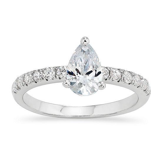 Diamonart Womens White Cubic Zirconia Sterling Silver Round Engagement Ring