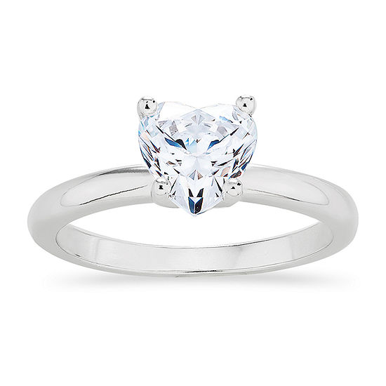 DiamonArt® Womens 1 CT. T.W. White Cubic Zirconia Sterling Silver Round Engagement Ring