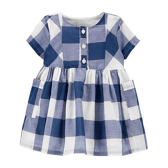 Oshkosh Baby Girls Short Sleeve Gingham A-Line Dress
