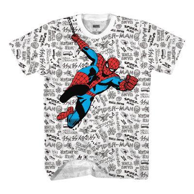 Little & Big Boys Crew Neck Spiderman Short Sleeve Graphic T-Shirt
