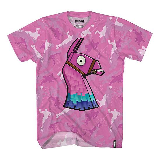 Big Kid Boys Crew Neck Fortnite Short Sleeve Graphic T-Shirt