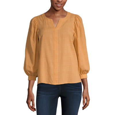 a.n.a Womens Split Crew Neck 3/4 Sleeve Slubbed Blouse