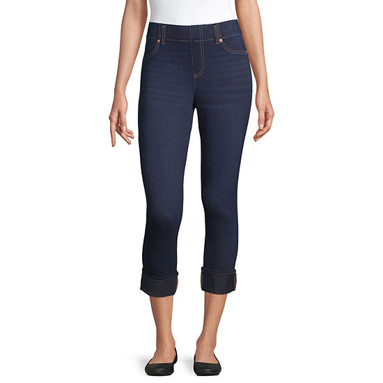 Mixit Denim Roll Cuff Wide Waistband Womens Capri Leggings