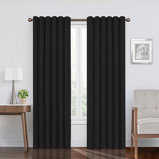 Eclipse Bradley Absolute Zero Velvet 100% Blackout Back-Tab Single Curtain Panel