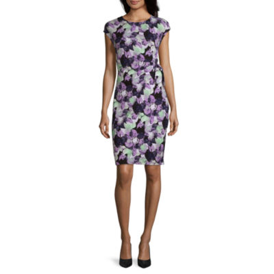 Liz Claiborne Studio Short Sleeve Floral A-Line Dress