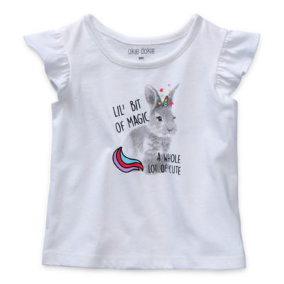 Okie Dokie - Baby Girls Round Neck Short Sleeve Graphic T-Shirt