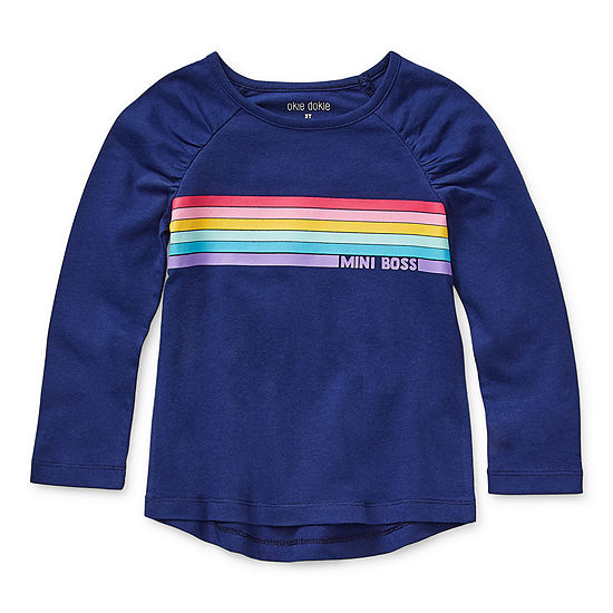 Okie Dokie Toddler Girls Round Neck Long Sleeve Graphic T-Shirt
