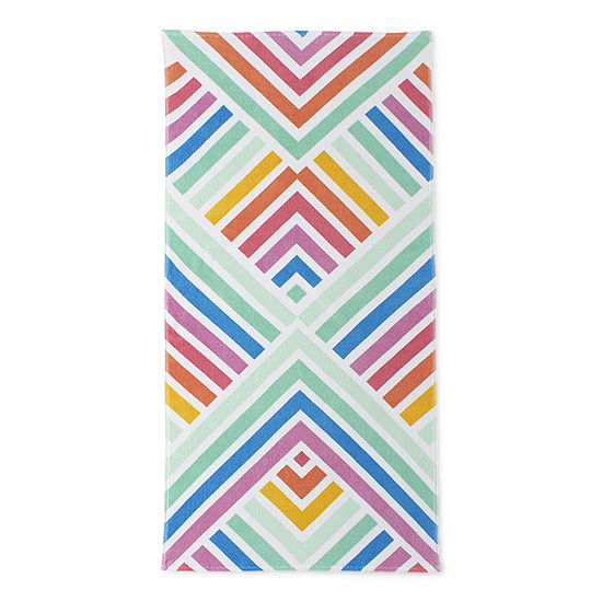 Outdoor Oasis Diamond Rainbow Beach Towel