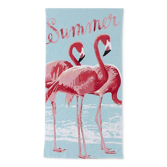 Outdoor Oasis Watercolor Flamingo Beach Towel