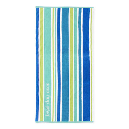Outdoor Oasis Reversible Rainbow Stripe Beach Towel