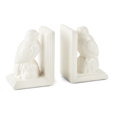 JCPenney Home White Bird Book Ends