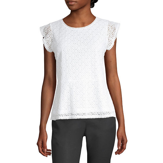 Liz Claiborne Womens Round Neck Short Sleeve Lace Lined Blouse