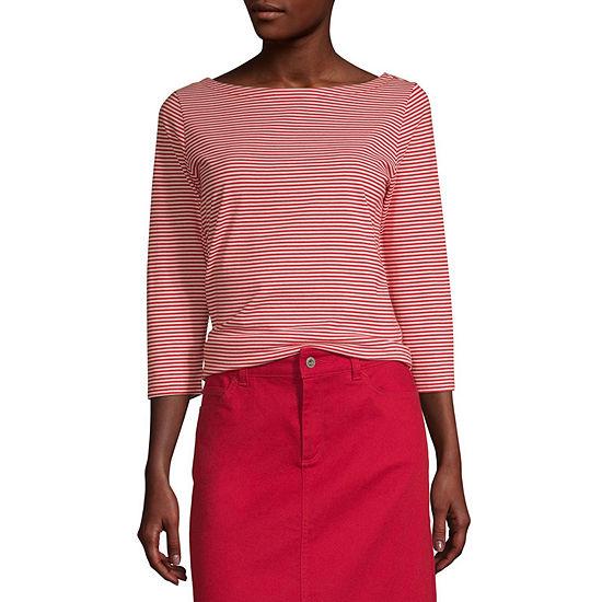 Liz Claiborne Simply-Womens Boat Neck 3/4 Sleeve T-Shirt