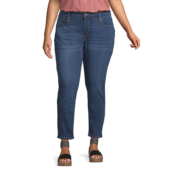 a.n.a - Plus Womens Ripped Skinny Ankle jean