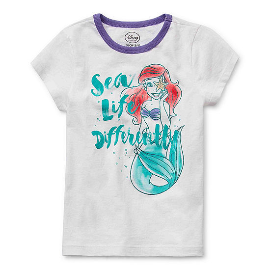 Disney Collection Little & Big Girls Crew Neck The Little Mermaid Short Sleeve Graphic T-Shirt