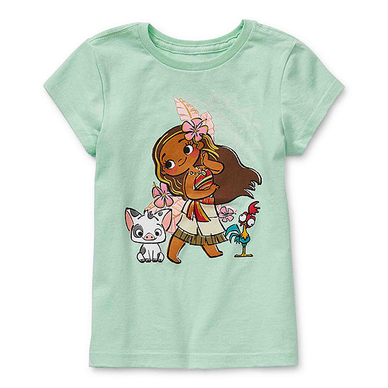 Disney Collection Little & Big Girls Crew Neck Moana Short Sleeve Graphic T-Shirt
