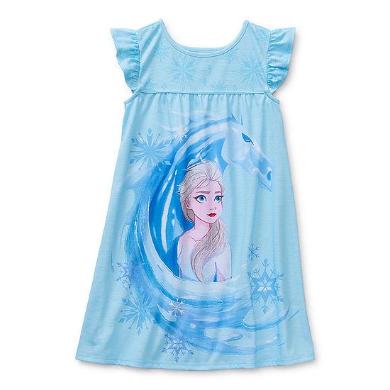 Disney Collection Little & Big Girls Frozen Short Sleeve Crew Neck Nightshirt