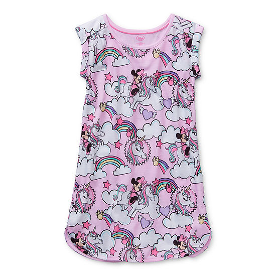 Disney Collection Little & Big Girls Minnie Mouse Short Sleeve Crew Neck Nightshirt