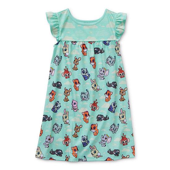 Disney Collection Little & Big Girls Short Sleeve Crew Neck Nightshirt
