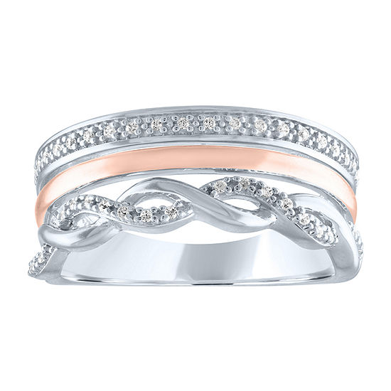 Limited Time Special! Womens 1/10 CT. T.W. Genuine White Diamond Sterling Silver Cocktail Ring