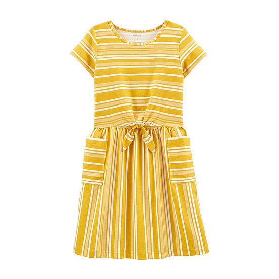 Carter's Little & Big Girls Short Sleeve Striped A-Line Dress